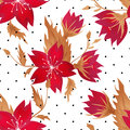 Floral seamless pattern with red flowers texture background Royalty Free Stock Photos