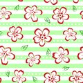 Floral seamless pattern with red and white flowers on striped background Royalty Free Stock Photo