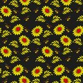 Floral seamless pattern. Russian khokhloma (Hohloma) background design. Gold and red colors on black background.