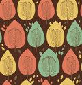 Floral seamless pattern in scandinavian style fabric texture with decorative trees leafs on dark background Royalty Free Stock Photography