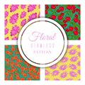 Floral seamless pattern set for textile, fabric, wrapping paper vector illustration. Different colorful cartoon flowers Royalty Free Stock Photo