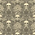Floral seamless pattern with skull in art nouveau style Royalty Free Stock Photo