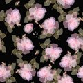 Floral seamless pattern with a sprigs of gently pink roses and small hearts on a black background. Printing for fabric