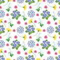 Floral seamless pattern. Spring and summer garden flowers botanical romantic print vintage texture