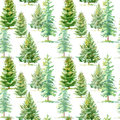 Floral seamless pattern of a spruce tree.