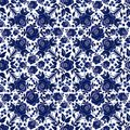 Floral seamless pattern in style Gzhel on a white background.