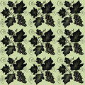 Floral seamless pattern with swirl leaf and vine grape Royalty Free Stock Images