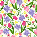 Floral seamless pattern texture with with bright summer flowers