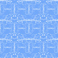 Floral seamless pattern with thin white swirls on a blue background Royalty Free Stock Image