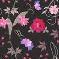 Floral seamless pattern with treble clef and stylized chord in shape of flowers, red rose, buds, branch of virgin vine