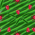 Floral seamless pattern with tulips on the background with green leaves and ornament Royalty Free Stock Photo