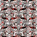 Floral seamless pattern. Vector 3d background silver black red Royalty Free Stock Photo