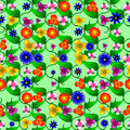 Floral seamless pattern vector on green background Stock Photo