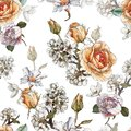 Floral seamless pattern with watercolor orange roses, penies and white flowers Royalty Free Stock Photo
