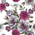 Floral seamless pattern with watercolor peonies, datura flower, dahlias and tulips