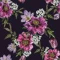 Floral seamless pattern with watercolor peonies, jasmine and tulips