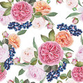 Floral seamless pattern with watercolor roses, peonies, black rowan berries.
