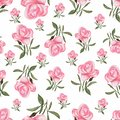 Floral seamless pattern with watercolor roses in pink rose color and green leaves. cute flowers seamless pattern.Hand drawn