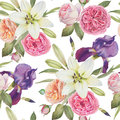 Floral seamless pattern with watercolor violet iris, white lilies and roses