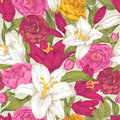 Floral seamless pattern with white and purple lilies, pink, crimson and yellow roses.