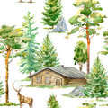 Floral seamless pattern of a wooden house,deer, pine, spruce,stone and deciduous tree.