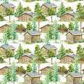 Floral seamless pattern of a wooden house, pine, spruce and deciduous tree.