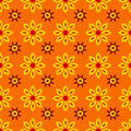 Floral seamless pattern with yellow flowers on orange background Royalty Free Stock Photo