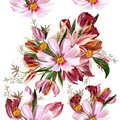 Floral seamless vector pattern with flowers in watercolor realis Royalty Free Stock Photo