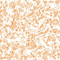 Floral seamless wallpaper with cats Stock Photo