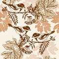 Floral seamless wallpaper pattern with birds Royalty Free Stock Photo