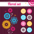 Floral set abstract vector illustrations Stock Images