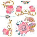 Colorful floral collection of pink, green, gold cute design elements. Paradise fantasy flowers with curls, leaves isolated on whit Royalty Free Stock Photo