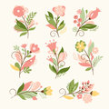 Floral set vector for greeting card or other Stock Image