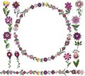 Vector Floral set, : Seamless brush, round frame from simple botanical elements in ethnic style, flowers of lilac hues and