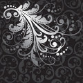Floral silver design element on black swirls pattern Royalty Free Stock Photo