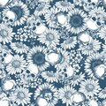 Floral skull seamless pattern. Halloween wallpaper. Daisy and skeleton background.