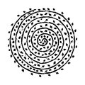 Floral spiral ornament, hand drawn sketch for your design Royalty Free Stock Photo