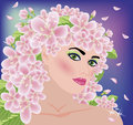 Floral spring beautiful girl illustration Royalty Free Stock Photos