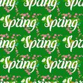 Floral spring seamless pattern background with white text letter ornament beautiful calligraphy flower poster vector Royalty Free Stock Photo