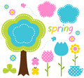Floral spring set pink blue green vector illustration Royalty Free Stock Images