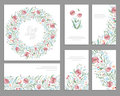 Floral spring templates with cute bunches of pink poppies. For romantic and easter design, announcements, Royalty Free Stock Photo
