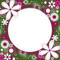 Floral Square Frame in Green and Magenta Stock Photography