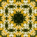 Floral square spring pattern in yellow and dark green in kaleidoscope Royalty Free Stock Photo