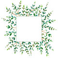 Floral square wreath.Garland of a eucalyptus branches.