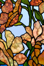 Floral stained glass panel Stock Photography