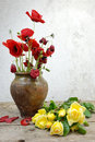 Floral still life clay pot with poppies and yellow roses on a wooden table Stock Images