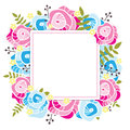 Floral template. Square frame with abstract pink and blue roses, yellow flowers and greenery.