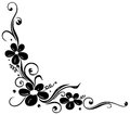 Floral tendril flowers black element with Stock Photo
