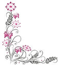 Floral tendril flowers pink in and black with butterflies Stock Photography