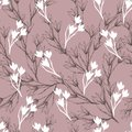 Floral texture for fabric. Seamless ornament of flowers and leaves on a red background. Vintage texture for decorating fabric,